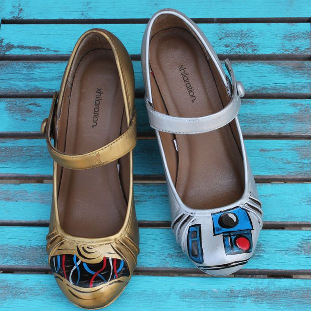 Tutorial for making #StarWars C3PO and R2D2 Painted Shoes