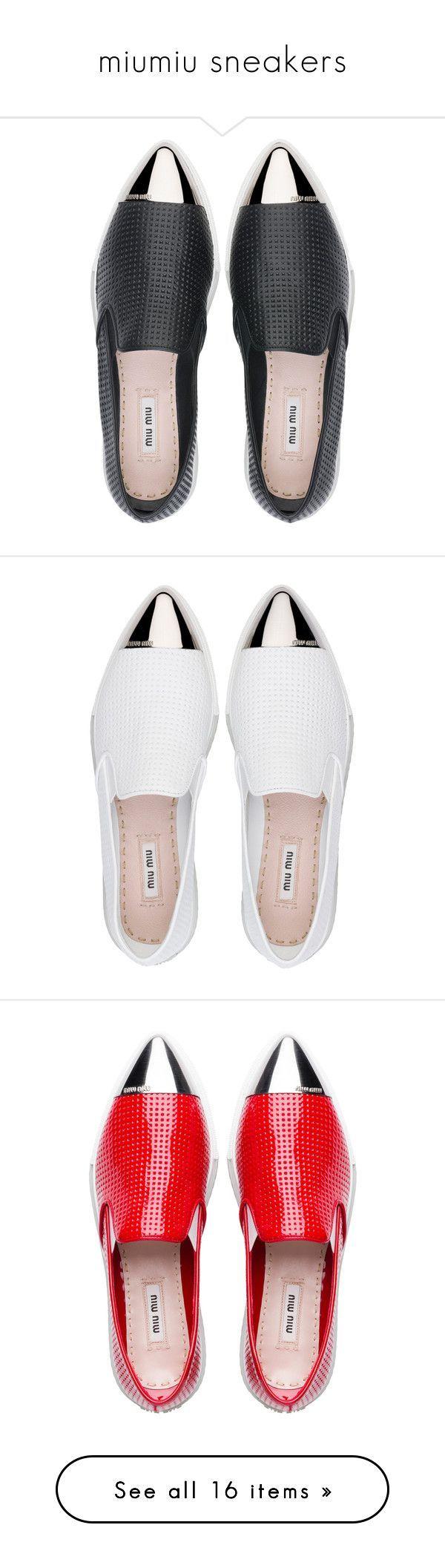 """miumiu sneakers"" by luxuriouslyclassy ❤ liked on Polyvore featuring shoes, sneakers, flats, sapatos, miu miu, miu miu sneakers, miu miu flats, flat pumps, flat shoes and metallic slip on sneakers Dieses Produkt und weitere MIU MIU Taschen jetzt auf www.designertaschen-shops.de/brands/miu-miu entdecken"