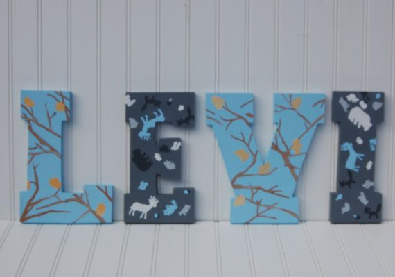 Hunting, fishing, camo, blue, animal, nursery, wall decor, name, custom, deer, bear, owl, elk, camouflage, baby shower gift
