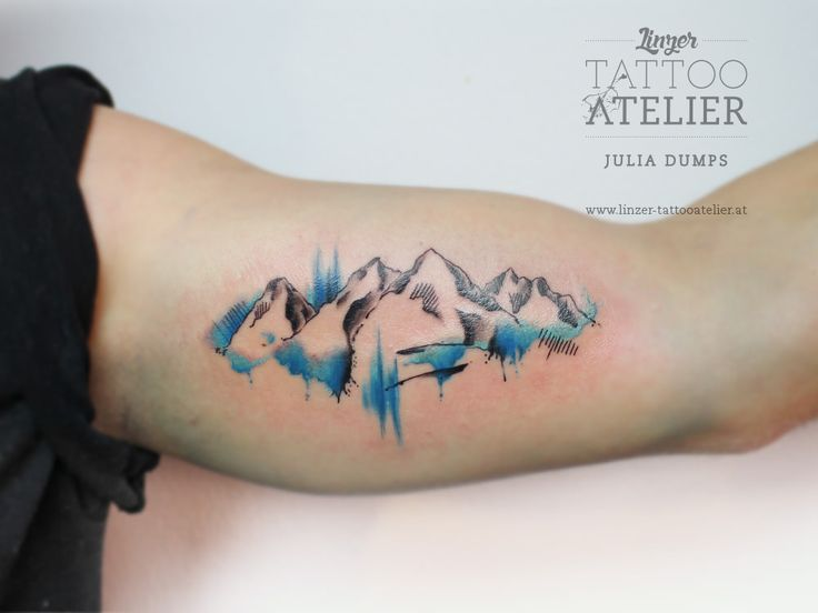 Mountains Watercolor Tattoo