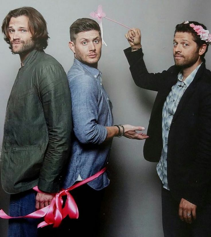 """With the power of an angel, Misha announces that Jensen Ackles and Jared Padalecki are now legally tied by their crotches. Now they can bump their asses into whatever they want from each other."""