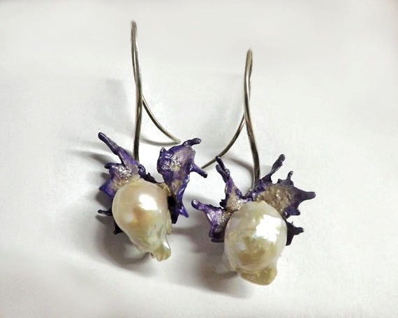 Wings Earrings, Sterling Silver, Sculpture, Baroque Pearl, Bridal Earrings, Modern, Enamel, Unique, Wedding, Organic Earrings, Free Shipping