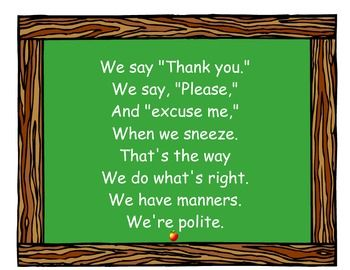 CLASSROOM MANNERS POEM - TEACHING MANNERS IS IMPORTANT, TOO :) BACK TO SCHOOL - TeachersPayTeachers.com