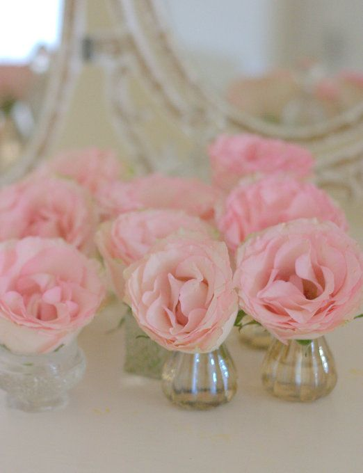 Vases from Cox & Cox pastel pink blush Roses wedding decor to scatter on guest tables vintage mirror