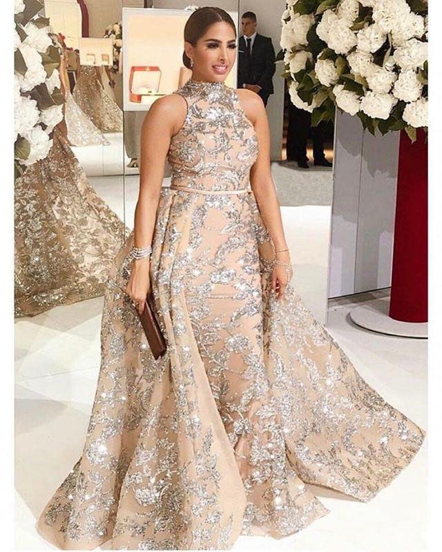 ef6cf642a1 2018 Yousef Aljasmi Dubai Arabic Evening Dresses Prom Gowns Overskirt Detachable  Train Champagne Mermaid Lace Applique Party Dress High Neck