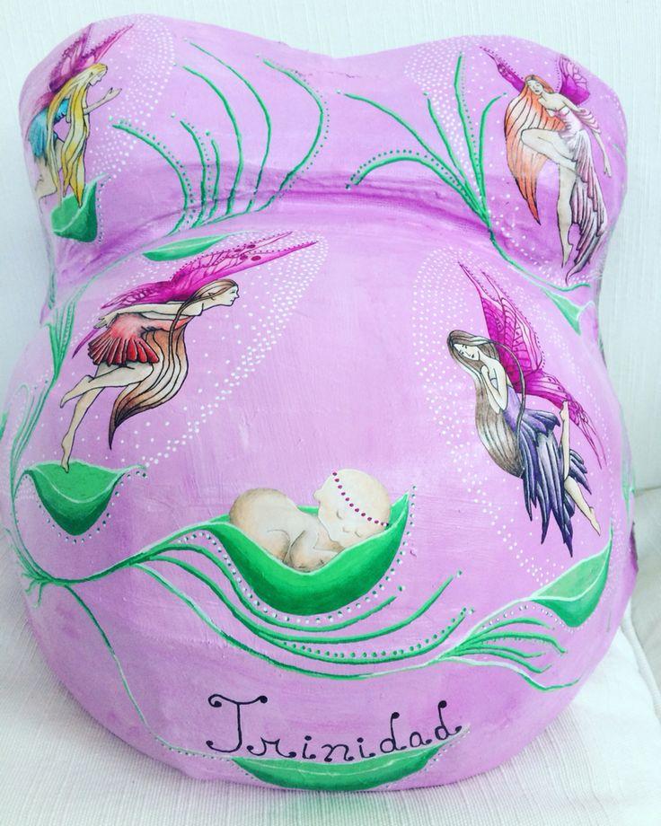 moldes de yeso embarazada pintada