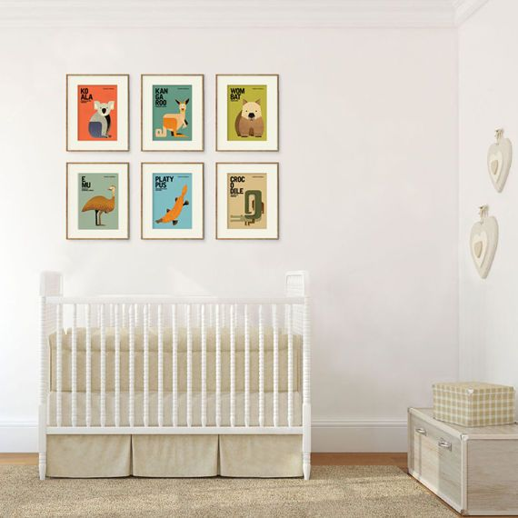 "This is a complete set of Wildlife of Australia, consisting of six 5"" x 7"" prints: KOALA, KANGAROO, WOMBAT, PLATYPUS, EMU and CROCODILE.  Unique, whimsical and minimal with a touch of retro, these prints will appeal to the young and the young-at-heart. They are not only a perfect decoration for the children's room, baby nursery, home and office interiors but also an ideal gift for the animal lover in your life. Gift them as a complete set or separately — the choice is yours."