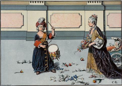 Kronprinz Friedrich zu seiner Lieblingsschwester Wilhelmine, welche ihn bittet, mit ihr zu spielen: Gut trommeln ist mir nützlicher als spielen