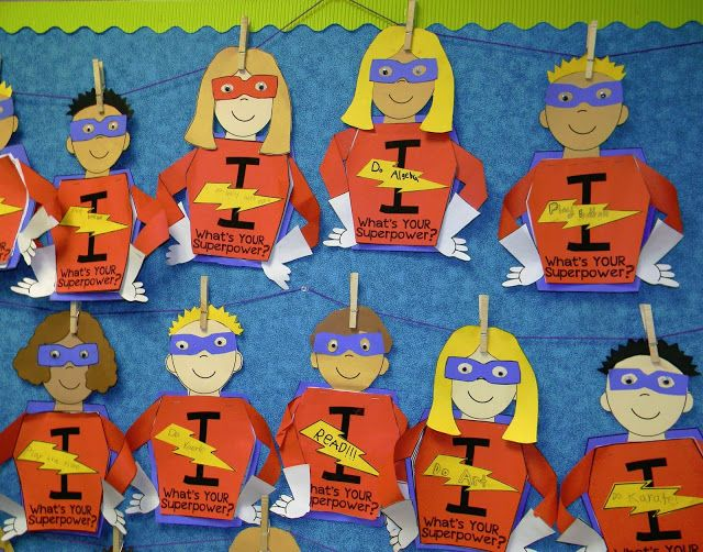 I Learn! What's Your Superpower? bulletin board cute for open house | Around the Kampfire