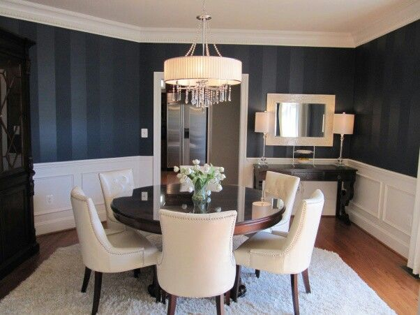 Navy and white room with glazed stripes