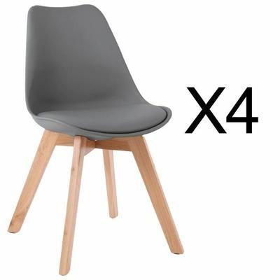 Lot de 4 chaises style scandinave Catherina Gris - Achat / Vente chaise Gris - Cdiscount