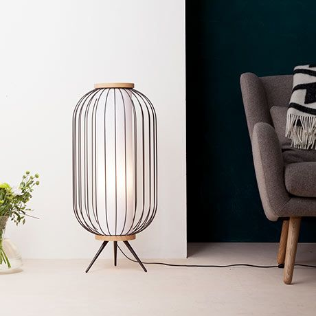 Ø 35 cm Chaplin Floor Lamp by GIBAS, Italy - Powder-Coated Steel, Ash Wood - H: 80 cm Ø 35 cm. Cable Length: 2 m - Weight3 kg -Switch located on cable - E27 socket, 60W. Plug: EU/Type C. Bulb not included