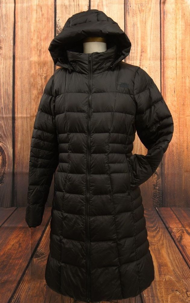 584d442b1 The North Face Womens Black 550 Down Puffer Hooded Winter Coat Long ...