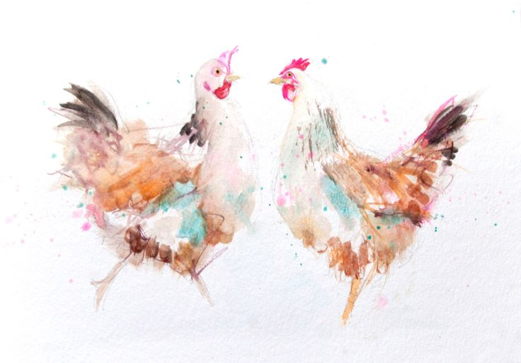 Contemporary LIMITED edition print of my original watercolour CHICKENS  Printed using epson Chroma K3 pigments on archival 315 gsm paper. by JenBuckleyArt on Etsy https://www.etsy.com/uk/listing/239310080/contemporary-limited-edition-print-of-my