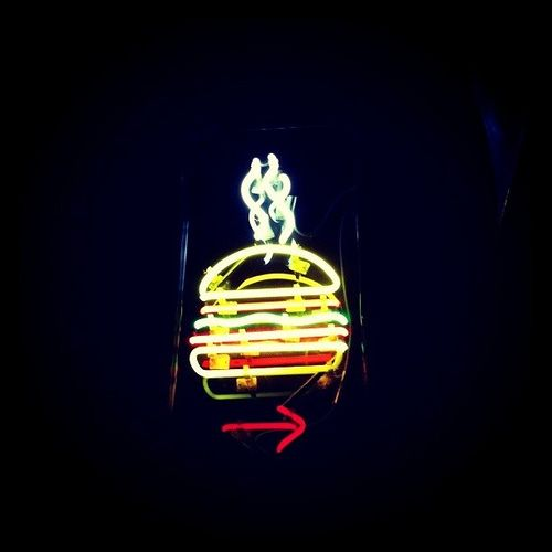 The Burger Joint - NYC Hidden behind the curtain in the atrium lobby of Le Parker Meridien.  It's like a secret club!