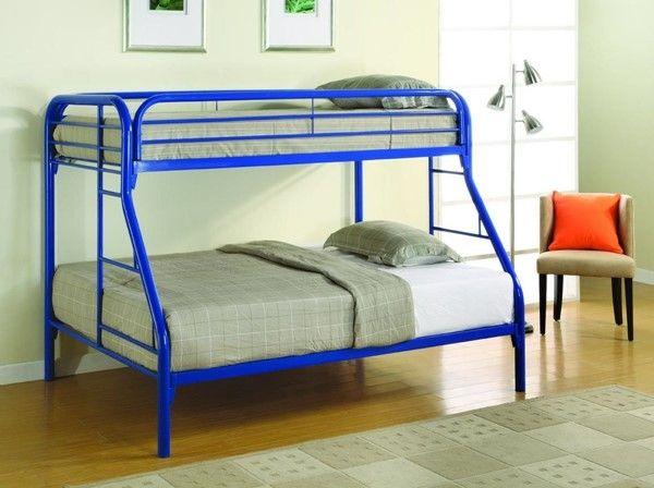 Coaster Furniture Morgan Blue Metal Twin Over Full Bunk Bed Full