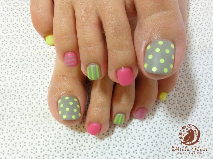 Cute toe nails; garden colors