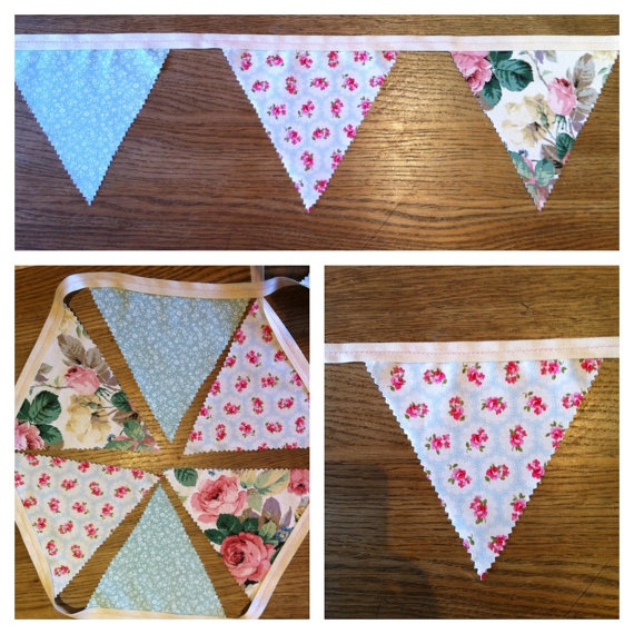 Handmade Vintage and new fabric Floral Bunting 3 by lcrdesignsuk, £12.00