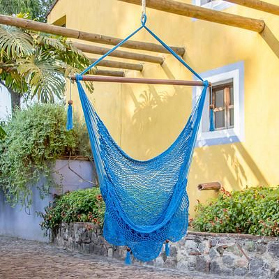 Cotton hammock swing chair, 'Above the Sea' - Single Cotton Hammock Swing in Cerulean from Nicaragua (image 2)