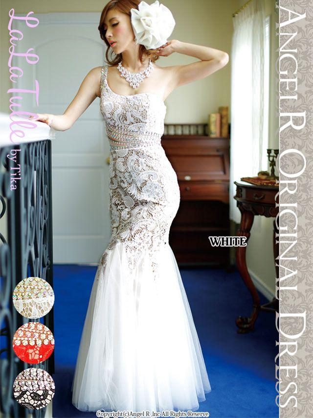 エンジェルアール Angel-R ドレス[ar4105]胸下透けレースレイヤードワンショルダーロングドレス