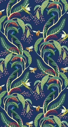 Tropical pattern. Bees, Grasshoppers and plants.