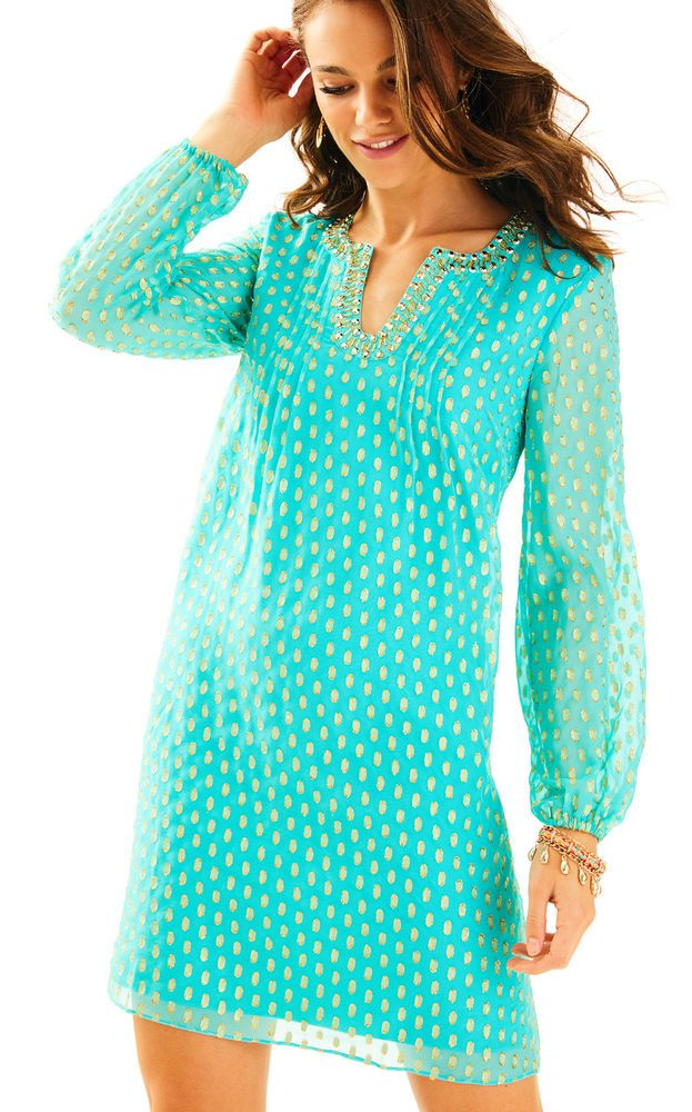 Colby Silk Tunic Dress. Looking for a long sleeve tunic dress?. The Colby Dress is a nod to the sixties, when our founder. Seaside Aqua Crinkle Clip Silk Jacquard. LILLY PULITZER. The dress is fun and flowy, just like all of Lilly's parties. | eBay!