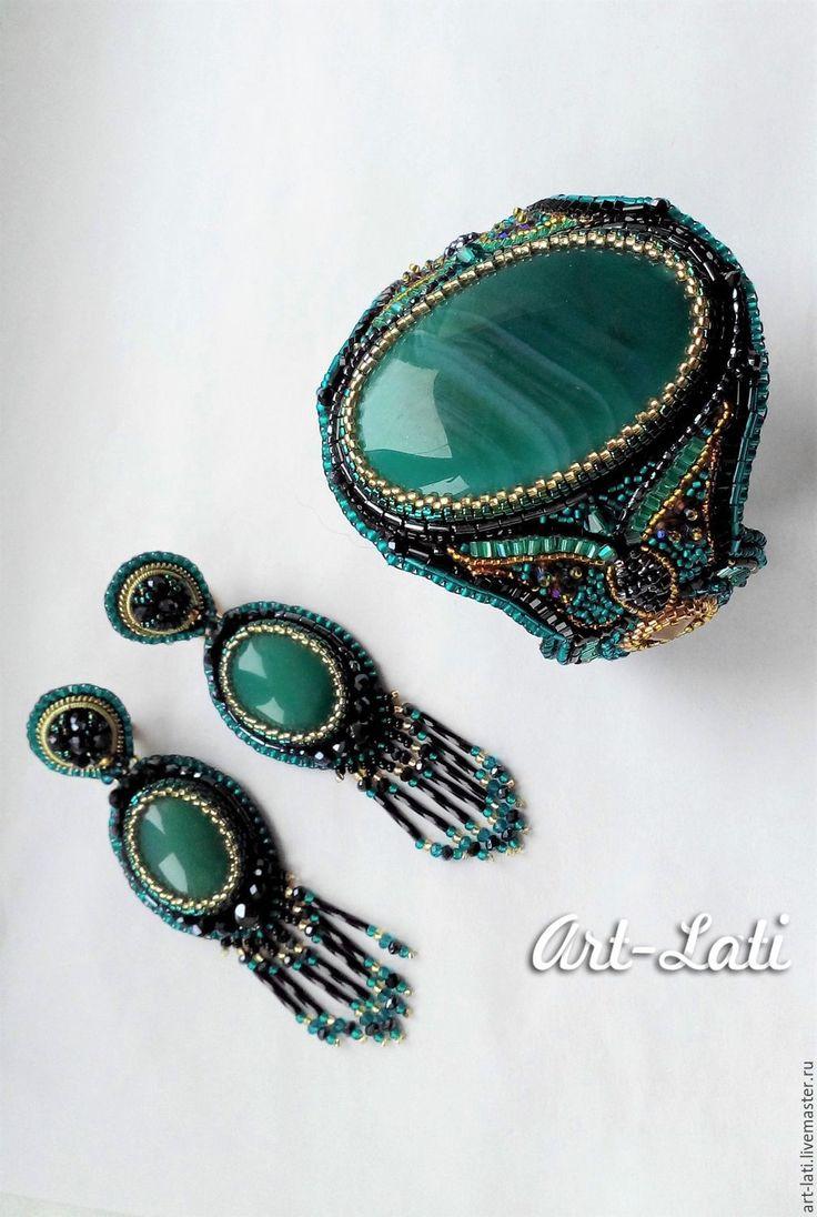 Купить Комплект с агатами - морская волна, гематит, золотой, синий, черный, комплект украшений