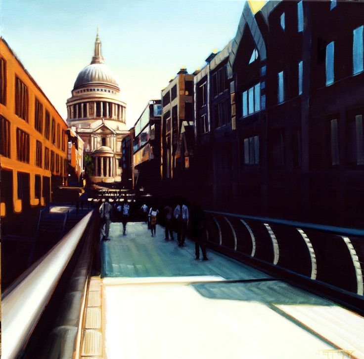 Cityscapes - BEN F JEFFERY- St Paul's Cathedral - London - amazing painting by the talented Ben Jeffery- the city looks beautiful with a summer sunset!