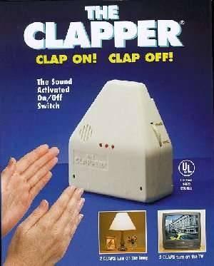 1977 -- clap on (clap,clap,clap) clap off (clap,clap) clap on (clap,clap)  The Clapper..