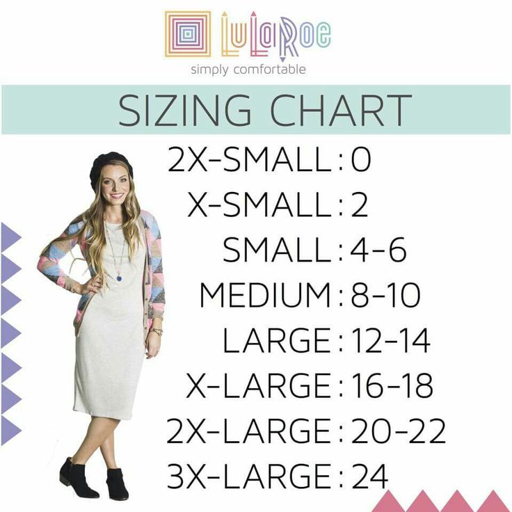 LuLaRoe size chart -most accurate for Nicole and Cassie