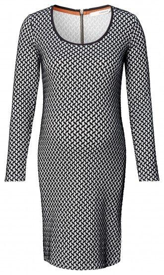 Dámské šaty pro těhotné s dlouhým rukávem SUPERMOM - krémová