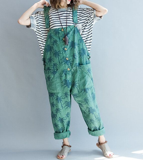 Blue/ green Cotton Loose fitting Woman long Bib/ Large by MaLieb
