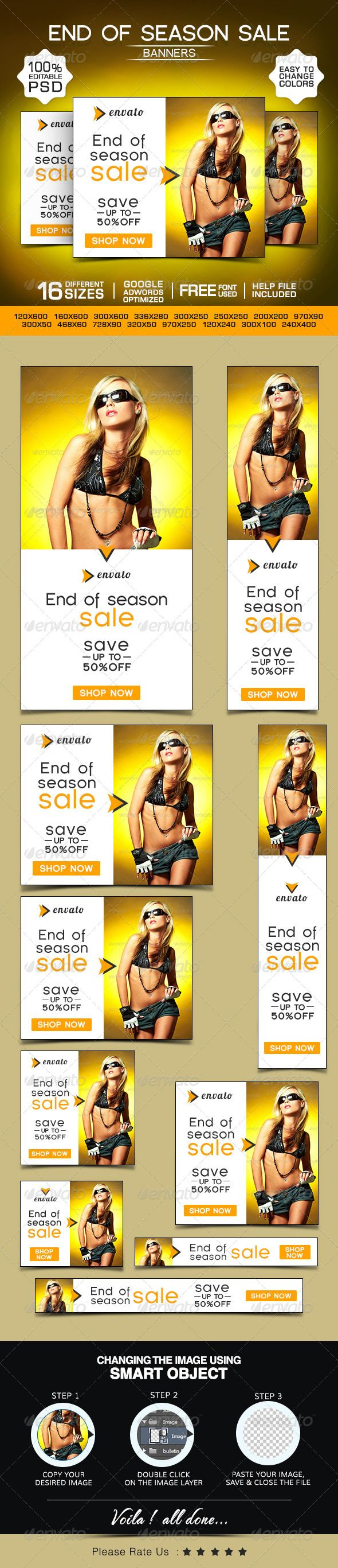 End of Season Sale Banners - Banners & Ads Web Template PSD. Download here: http://graphicriver.net/item/end-of-season-sale-banners/8565692?s_rank=1352&ref=yinkira