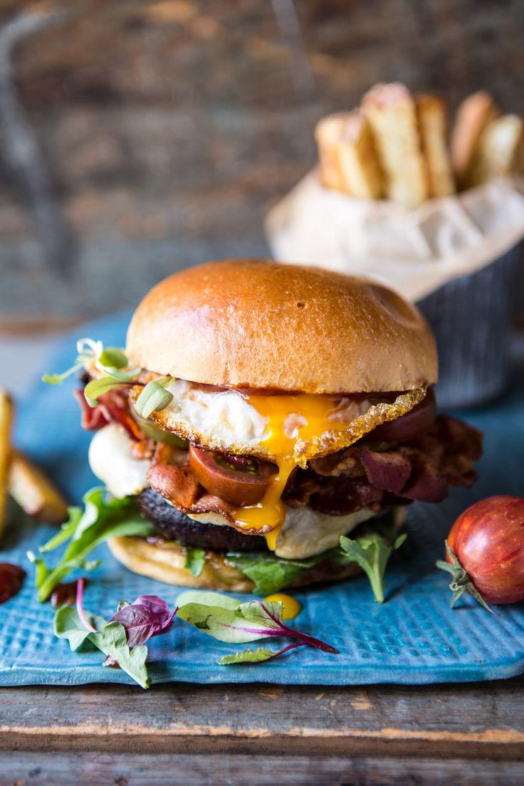 Cheddar Bacon Portobello Mushroom Burger   halfbakedharvest.com @hbharvest
