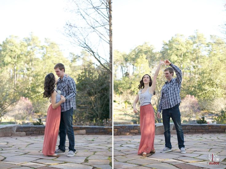 a cute couple dancing at duke gardens - unique engagement photography, raleigh nc