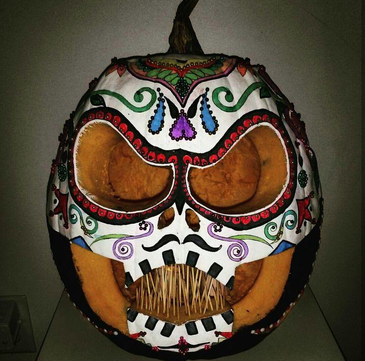 Halloween sugar skull pumpkin.
