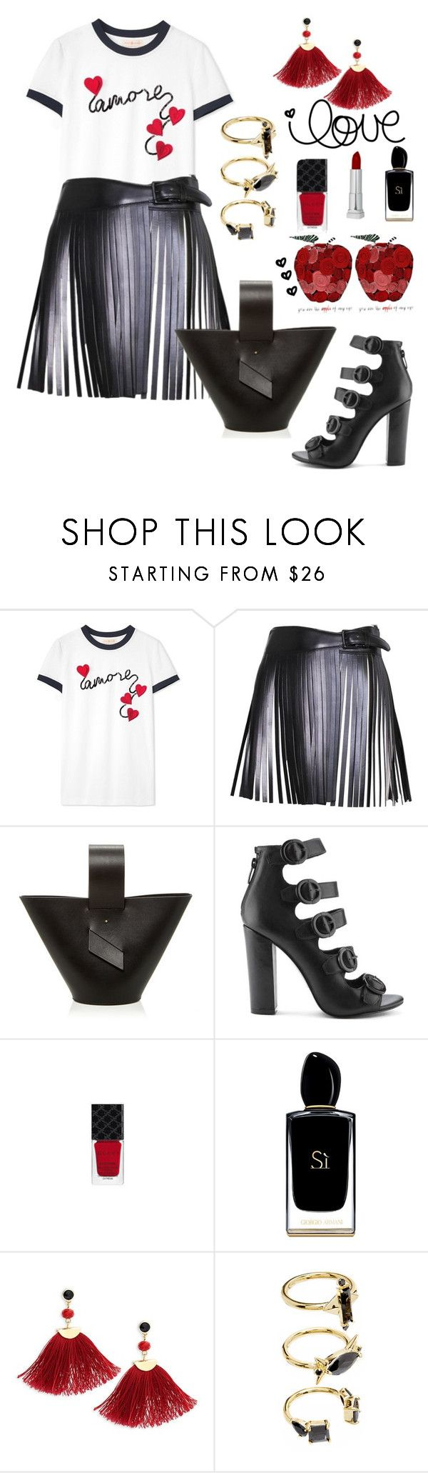 """""""Lovely all day outfit"""" by rousou ❤ liked on Polyvore featuring Tory Burch, Alaïa, Kendall + Kylie, Gucci, Giorgio Armani, Shashi and Noir Jewelry"""