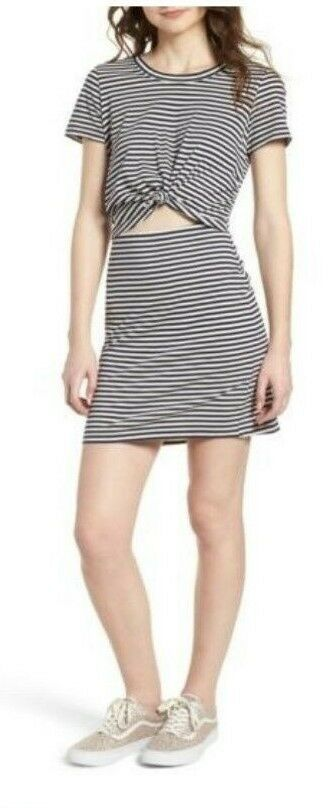 4f1a3ca4c07f4 Socialite Striped T Shirt Dress Knot Front Cutout Black and White Large # Socialite #TShirtDress #Casual
