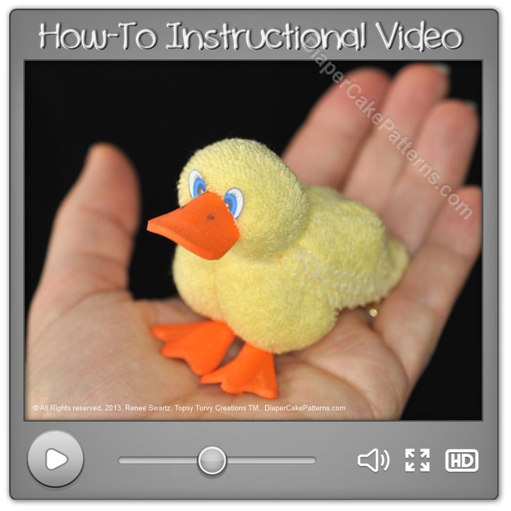 How to Make a Washcloth Duck Instructional Video | Diaper Cake Patterns  Go Ducks!!