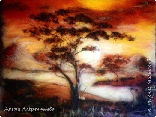 Картина панно рисунок Валяние фильцевание Картина из шерсти Африканские мотивы Шерсть