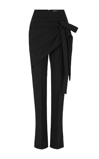 These **Maticevski** trousers feature a high waist, a wrap front, and straight legs.