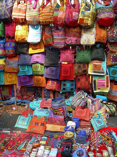 India, Goa. Anjuna Flea Market one of the best places to go street shopping in India