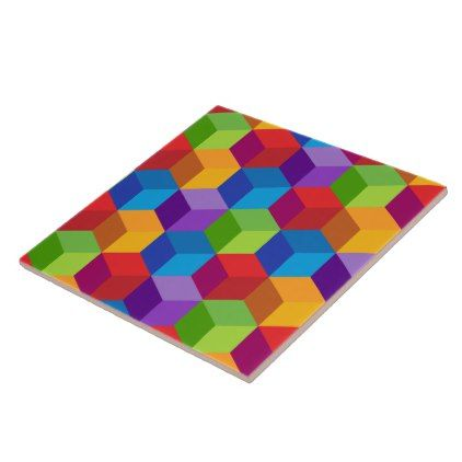 Rainbow Colorful Block Cube Pattern Ceramic Tile - patterns pattern special unique design gift idea diy