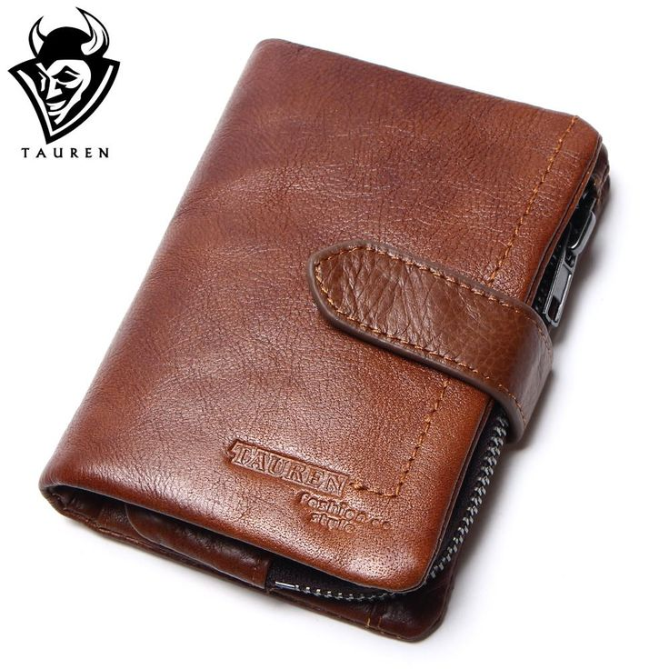 Removeable Zipper Pocket Men Vintage Wallets 100% Oil Wax Genuine Leather Wallet Fashion  Brand Purse Card Holder Coin Purse
