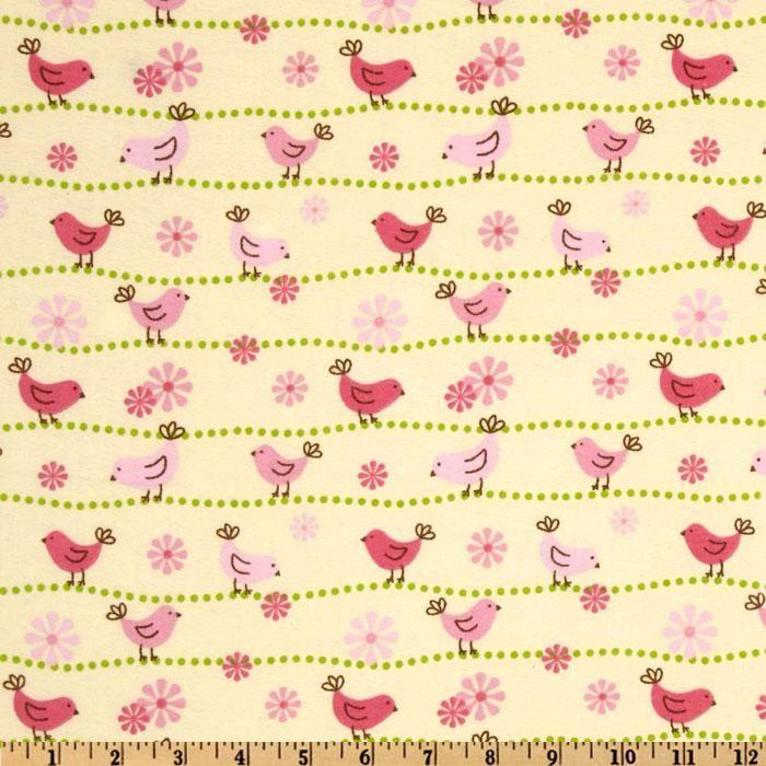 Birdie Baby Flannel Nursery Birds Yellow/Pink