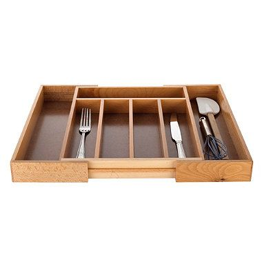 Expanding Drawer Organiser Cutlery Tray 5-7 Hole - Wooden - from Lakeland