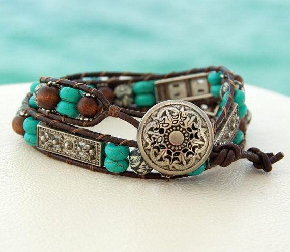 Country Style.... Leather Wrap Bracelet....  looking by OceanBead, $53.00