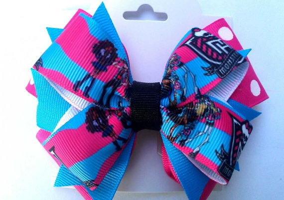 Pink and Blue Monster High hair Bow by ScissorhandsCrafting, $6.25