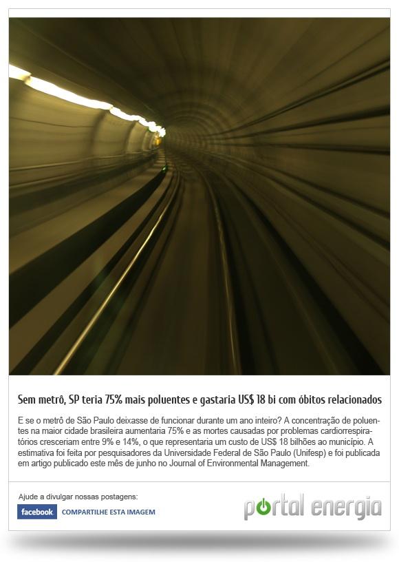Sem metro, SP teria 75% mais poluentes e gastaria US$ 18 bilhões com óbitos