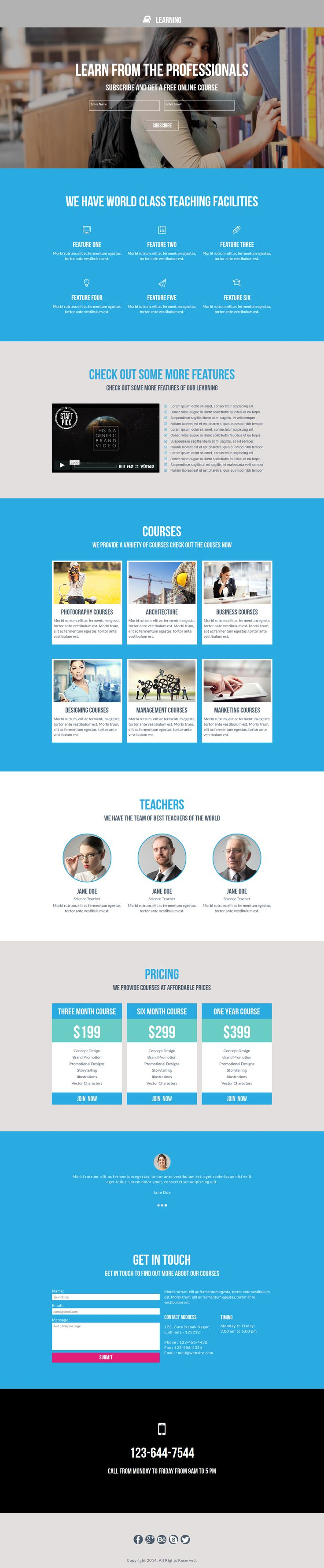Learning is a landing page template designed for Adobe #Muse Users. It is perfect #template for #education, #college, #university, #coaching #classes and #online classes #websites.